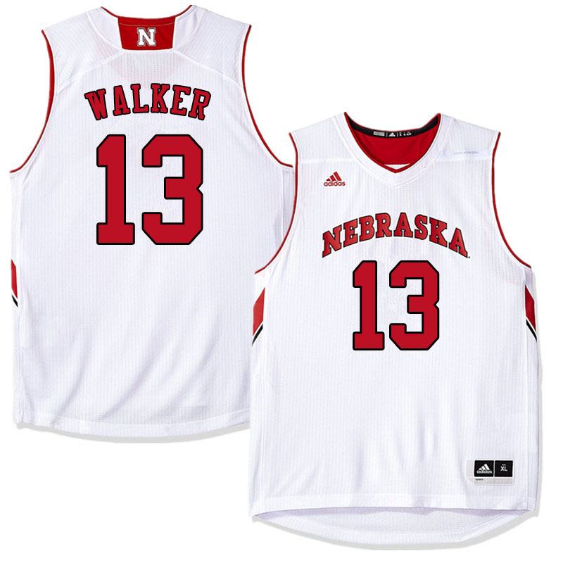 Men #13 Derrick Walker Nebraska Cornhuskers College Basketball Jerseys Sale-White
