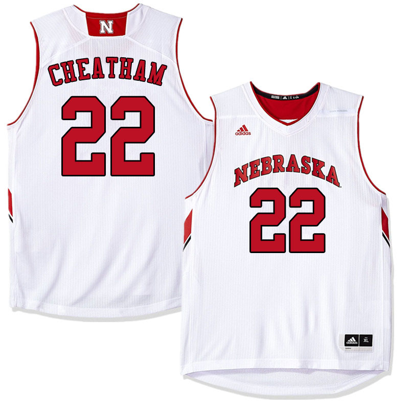 Men #22 Haanif Cheatham Nebraska Cornhuskers College Basketball Jerseys Sale-White