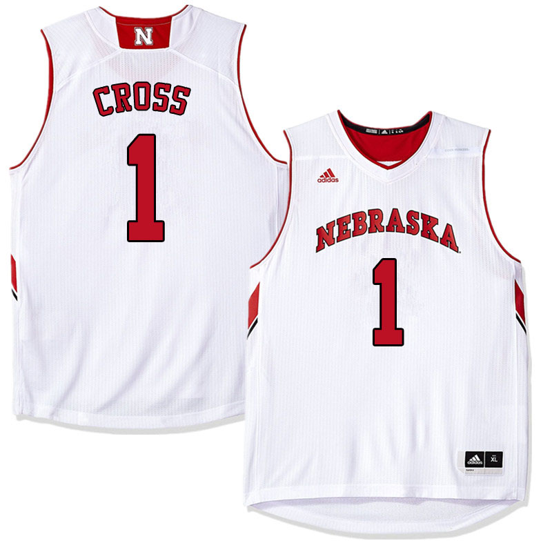 Men #1 Kevin Cross Nebraska Cornhuskers College Basketball Jerseys Sale-White
