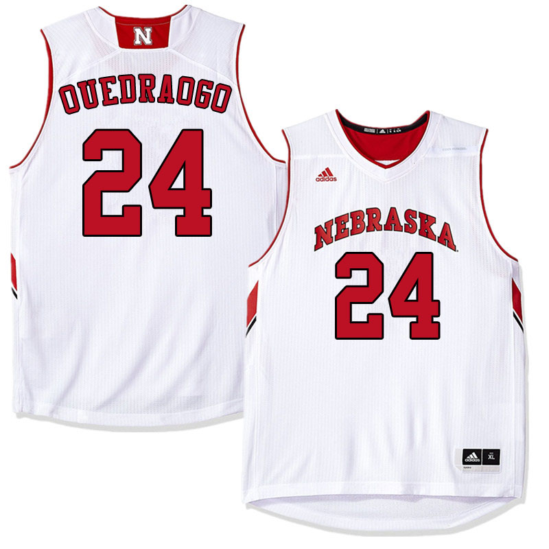 Men #24 Yvan Ouedraogo Nebraska Cornhuskers College Basketball Jerseys Sale-White