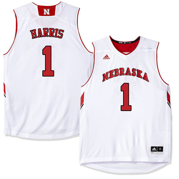 Men Nebraska Cornhuskers #1 Amir Harris College Basketball Jerseys Sale-White