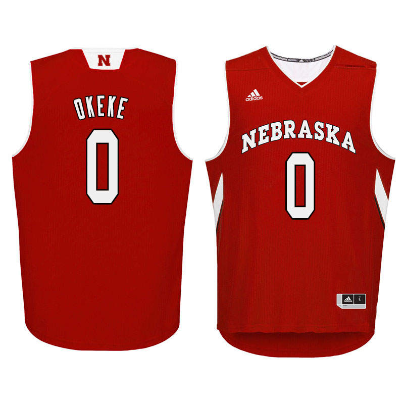 Men Nebraska Cornhuskers #0 Duby Okeke College Basketball Jersyes Sale-Red