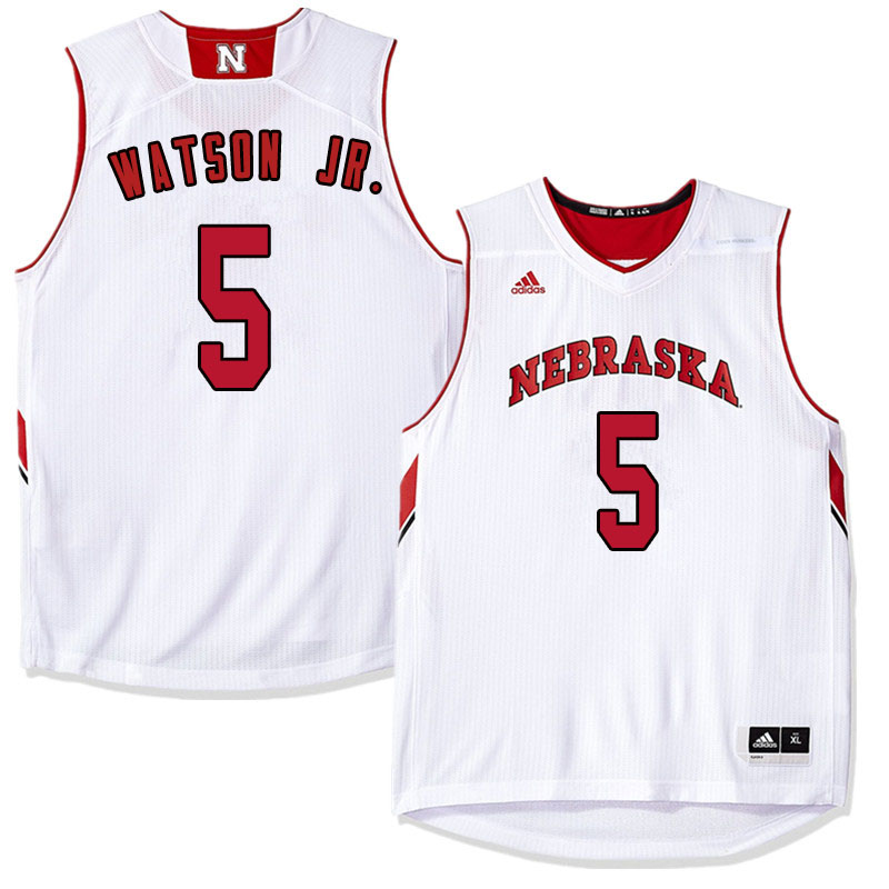 Men Nebraska Cornhuskers #5 Glynn Watson Jr. College Basketball Jersyes Sale-White