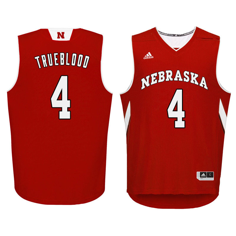 Men Nebraska Cornhuskers #4 Johnny Trueblood College Basketball Jersyes Sale-Red