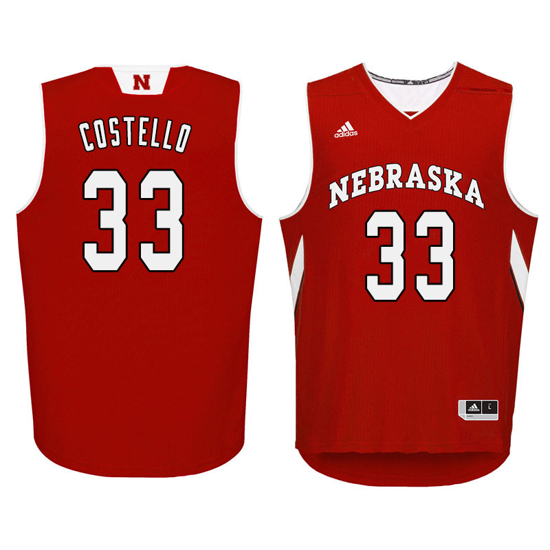 Men Nebraska Cornhuskers #33 Justin Costello College Basketball Jersyes Sale-Red