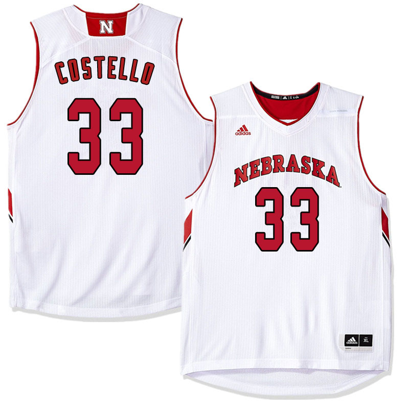 Men Nebraska Cornhuskers #33 Justin Costello College Basketball Jersyes Sale-White