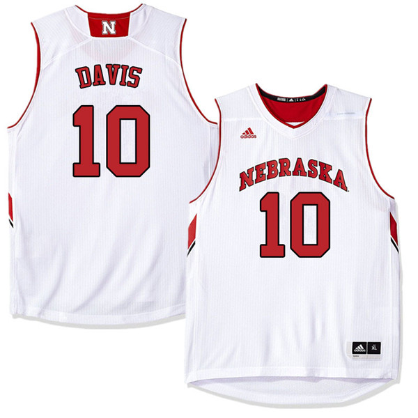 Men Nebraska Cornhuskers #10 Karrington Davis College Basketball Jerseys Sale-White