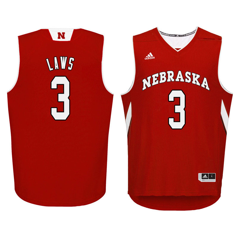 Men Nebraska Cornhuskers #3 Malcolm Laws College Basketball Jersyes Sale-Red