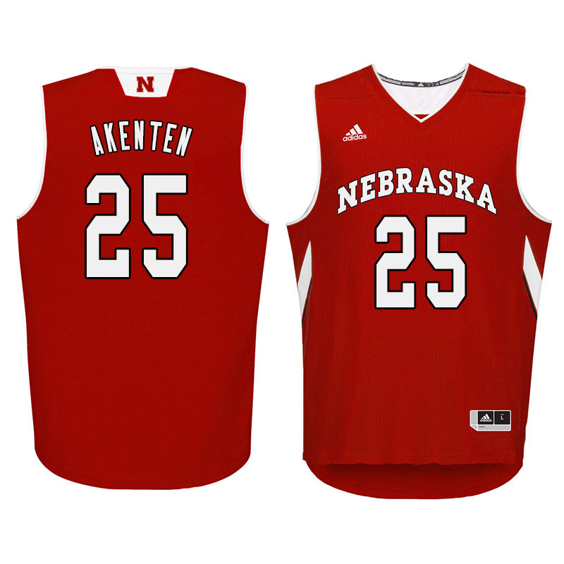 Men Nebraska Cornhuskers #25 Nana Akenten College Basketball Jersyes Sale-Red