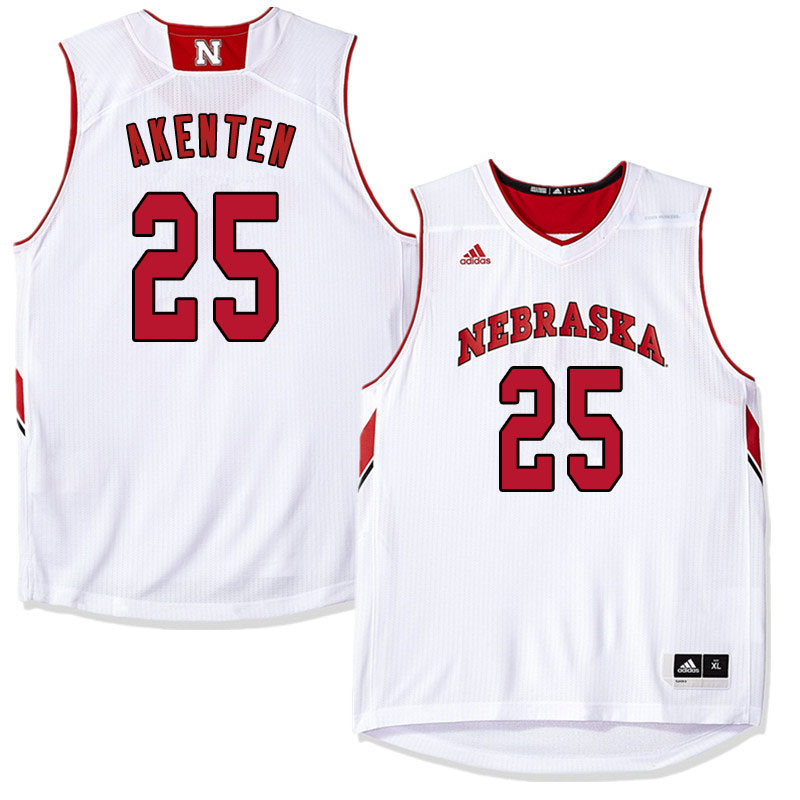 Men Nebraska Cornhuskers #25 Nana Akenten College Basketball Jersyes Sale-White