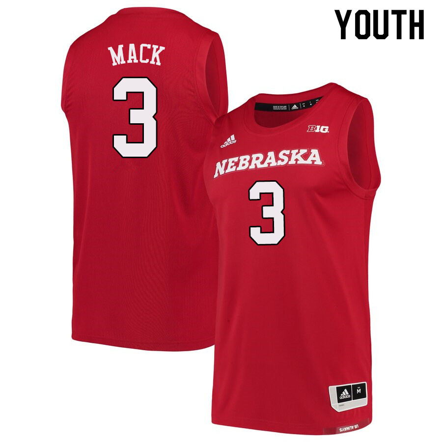 Youth #3 Cam Mack Nebraska Cornhuskers College Basketball Jerseys Sale-Scarlet