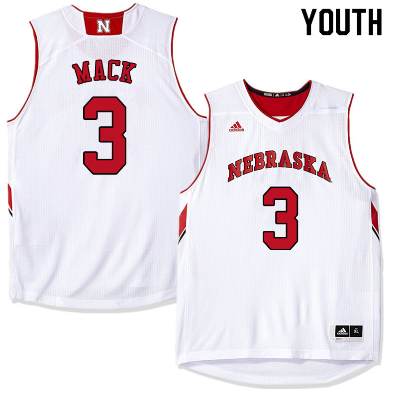 Youth #3 Cam Mack Nebraska Cornhuskers College Basketball Jerseys Sale-White