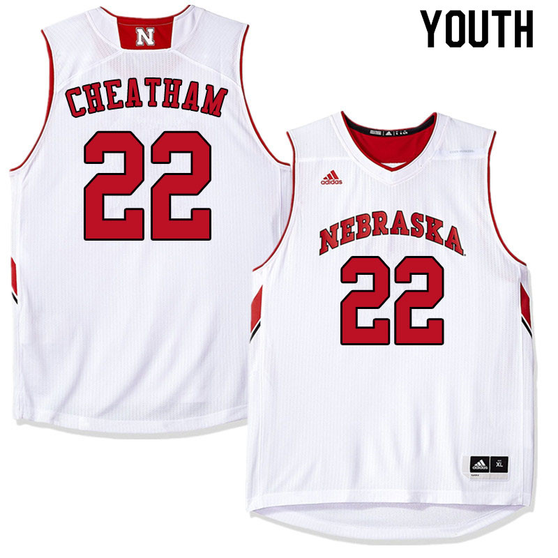 Youth #22 Haanif Cheatham Nebraska Cornhuskers College Basketball Jerseys Sale-White