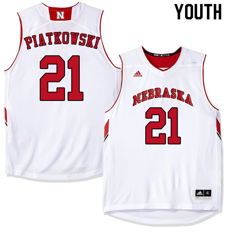 Youth #21 Jace Piatkowski Nebraska Cornhuskers College Basketball Jerseys Sale-White