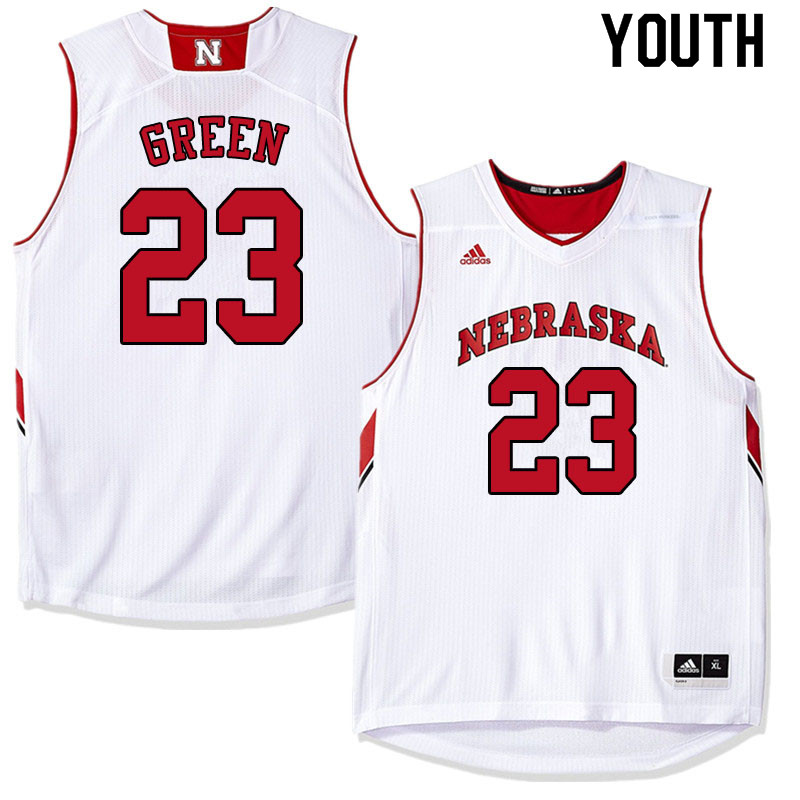 Youth #23 Jervay Green Nebraska Cornhuskers College Basketball Jerseys Sale-White