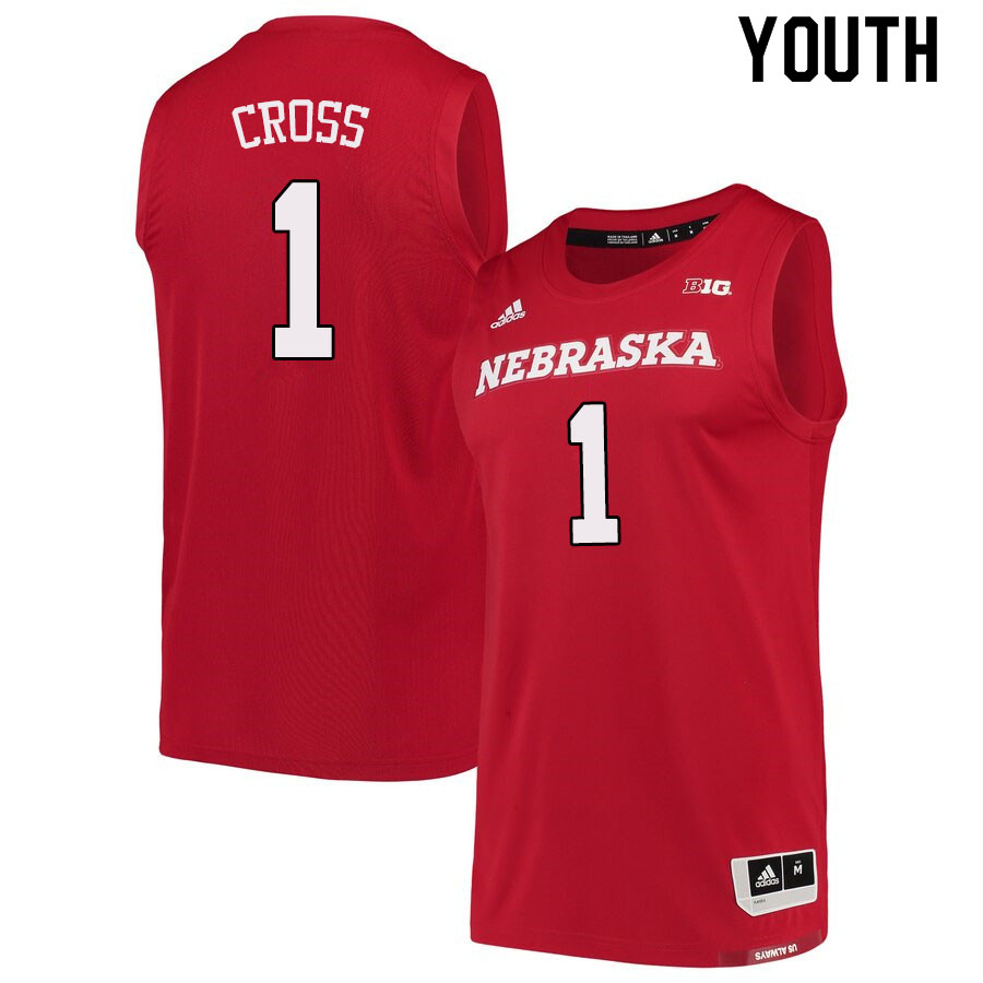 Youth #1 Kevin Cross Nebraska Cornhuskers College Basketball Jerseys Sale-Scarlet