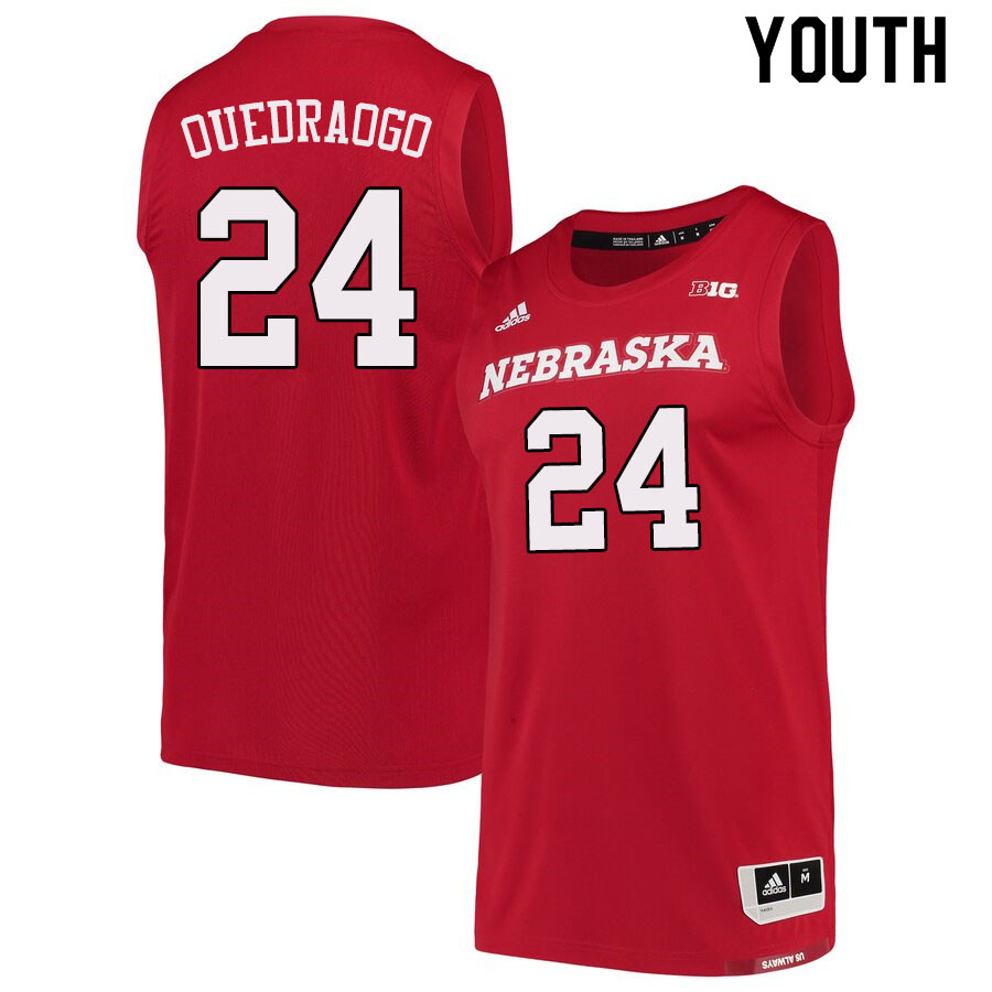 Youth #24 Yvan Ouedraogo Nebraska Cornhuskers College Basketball Jerseys Sale-Scarlet