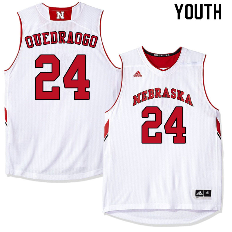 Youth #24 Yvan Ouedraogo Nebraska Cornhuskers College Basketball Jerseys Sale-White