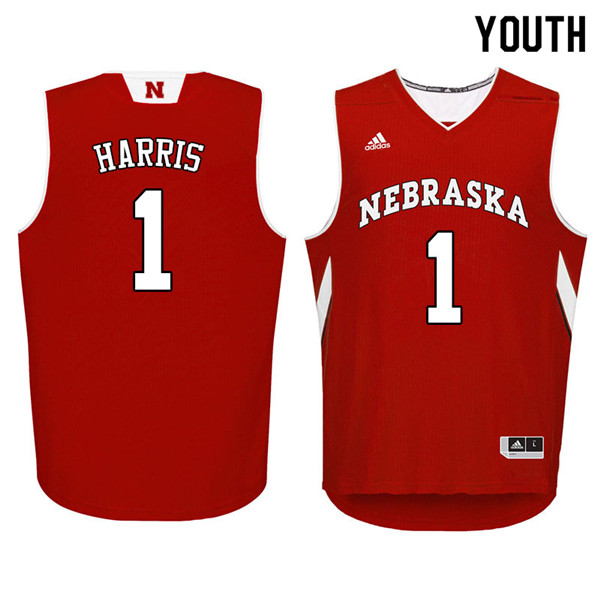 Youth Nebraska Cornhuskers #1 Amir Harris College Basketball Jerseys Sale-Red