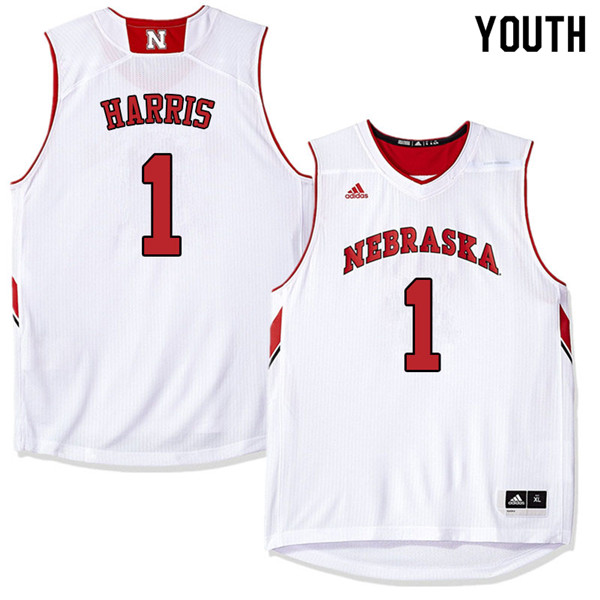 Youth Nebraska Cornhuskers #1 Amir Harris College Basketball Jerseys Sale-White