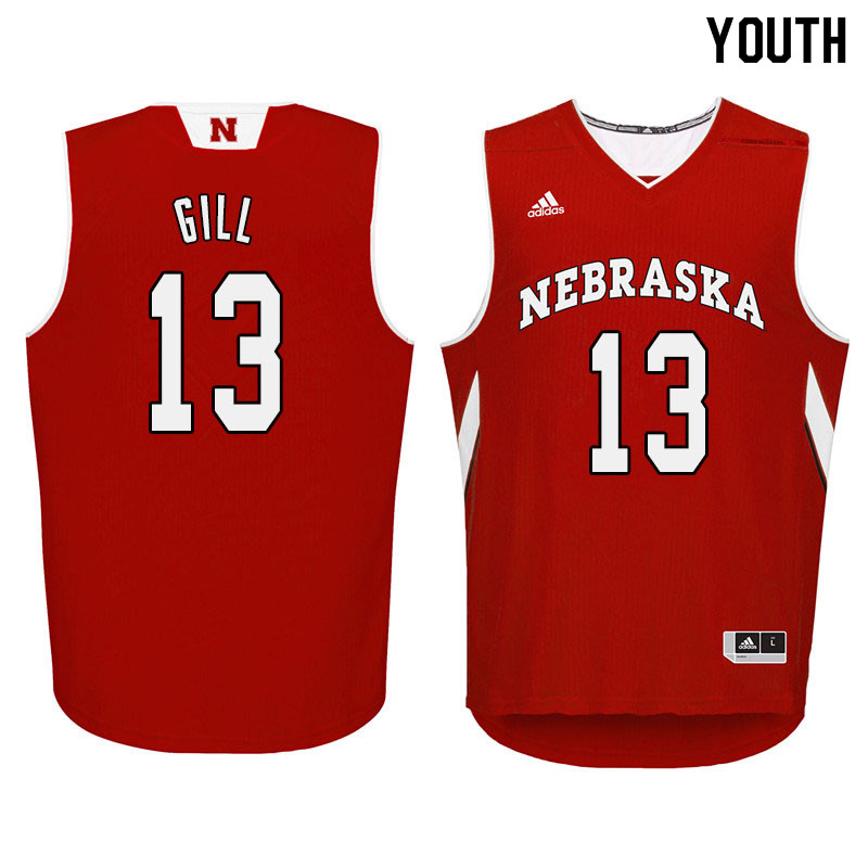 Youth Nebraska Cornhuskers #13 Anton Gill College Basketball Jersyes Sale-Red