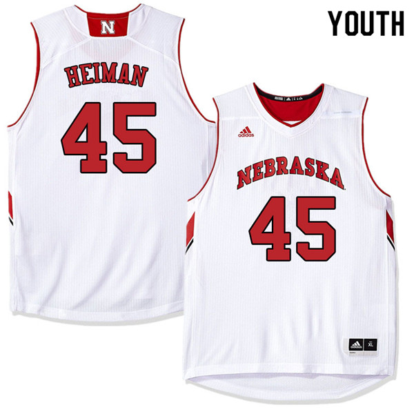 Youth Nebraska Cornhuskers #45 Brady Heiman College Basketball Jerseys Sale-White