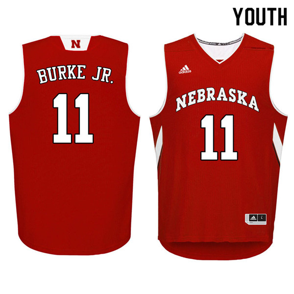 Youth Nebraska Cornhuskers #11 Dachon Burke Jr. College Basketball Jerseys Sale-Red