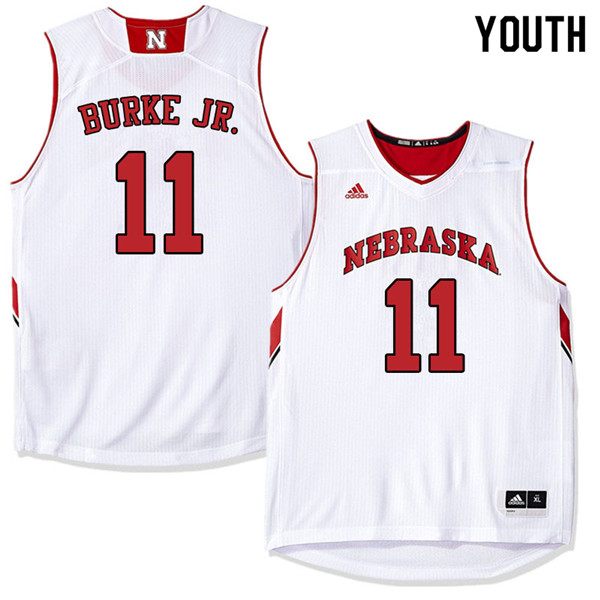Youth Nebraska Cornhuskers #11 Dachon Burke Jr. College Basketball Jerseys Sale-White