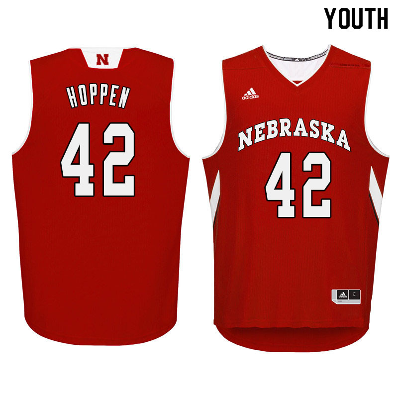 Youth Nebraska Cornhuskers #42 Dave Hoppen College Basketball Jersyes Sale-Red