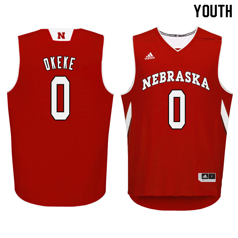 Youth Nebraska Cornhuskers #0 Duby Okeke College Basketball Jersyes Sale-Red