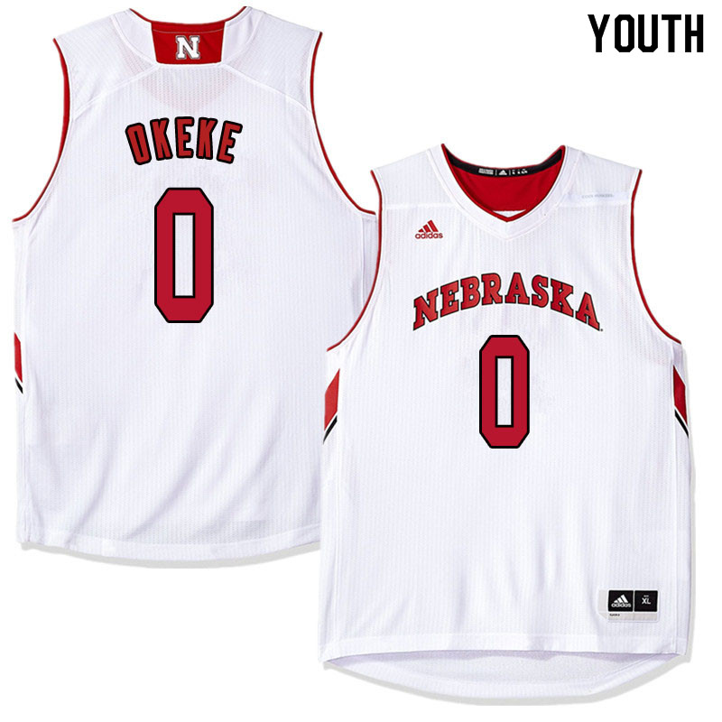 Youth Nebraska Cornhuskers #0 Duby Okeke College Basketball Jersyes Sale-White