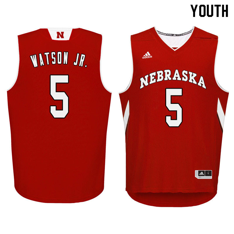 Youth Nebraska Cornhuskers #5 Glynn Watson Jr. College Basketball Jersyes Sale-Red