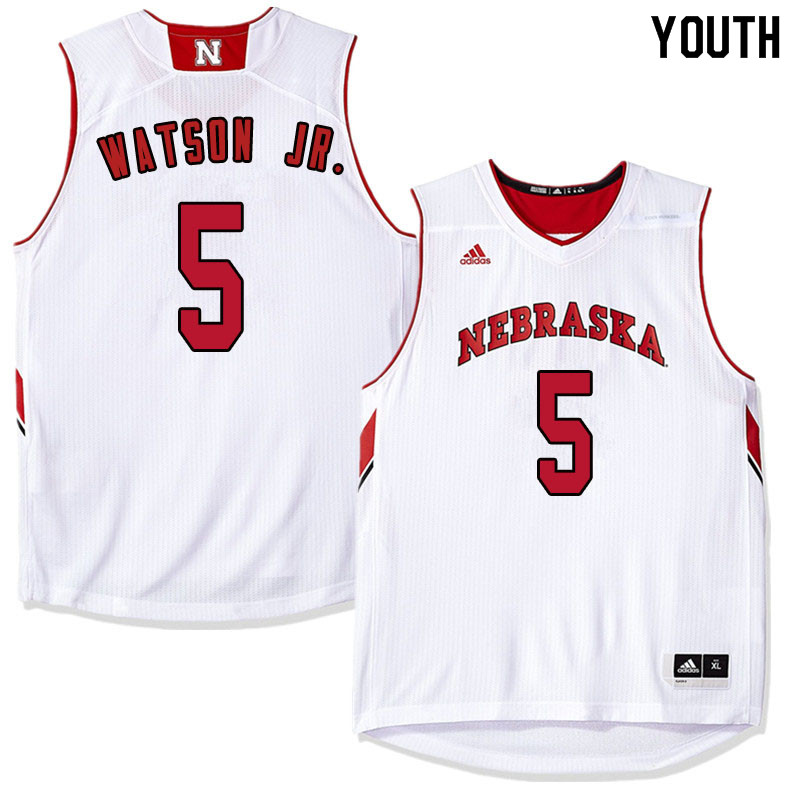 Youth Nebraska Cornhuskers #5 Glynn Watson Jr. College Basketball Jersyes Sale-White