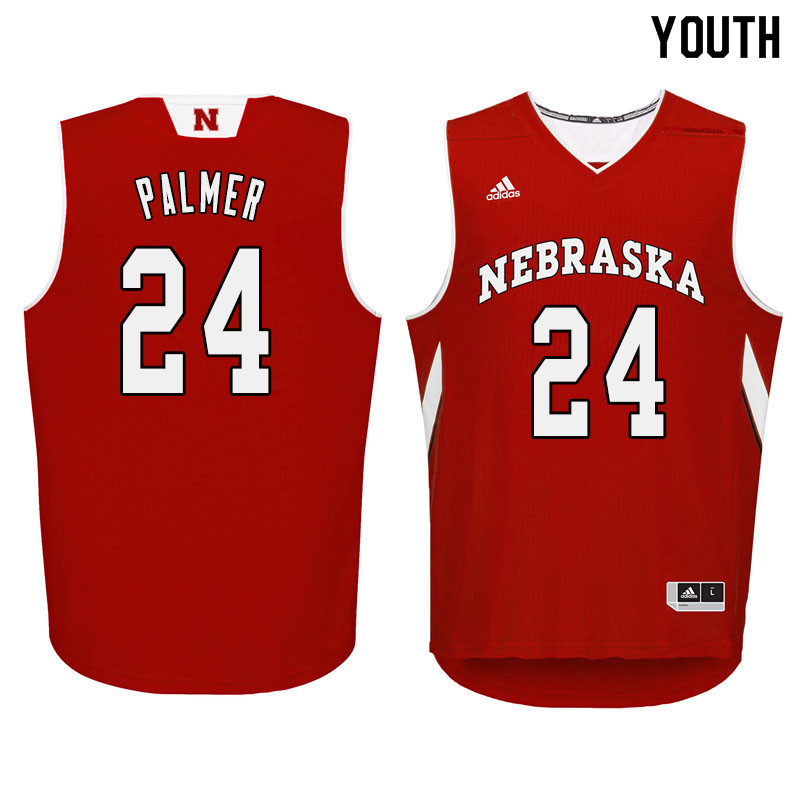 Youth Nebraska Cornhuskers #24 James Palmer College Basketball Jersyes Sale-Red