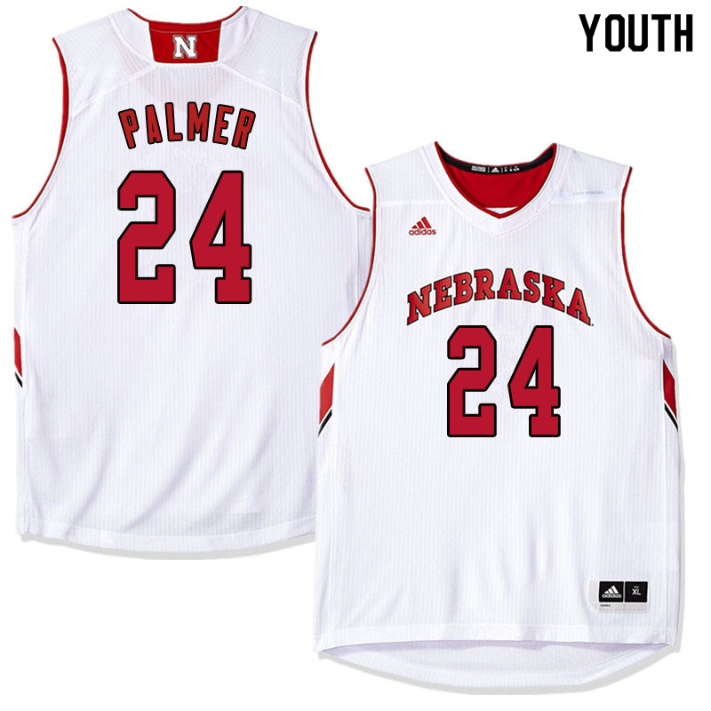 Youth Nebraska Cornhuskers #24 James Palmer College Basketball Jersyes Sale-White