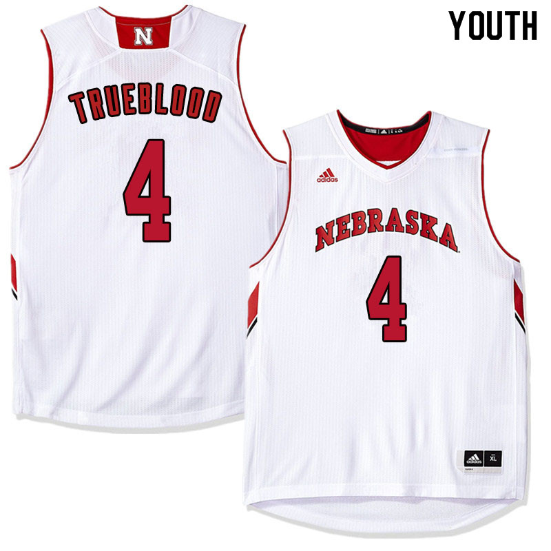 Youth Nebraska Cornhuskers #4 Johnny Trueblood College Basketball Jersyes Sale-White