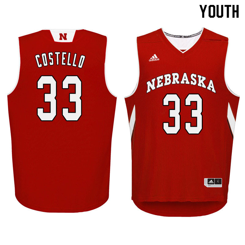 Youth Nebraska Cornhuskers #33 Justin Costello College Basketball Jersyes Sale-Red