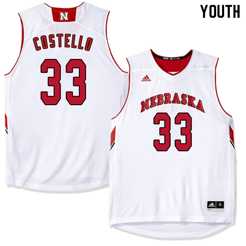 Youth Nebraska Cornhuskers #33 Justin Costello College Basketball Jersyes Sale-White