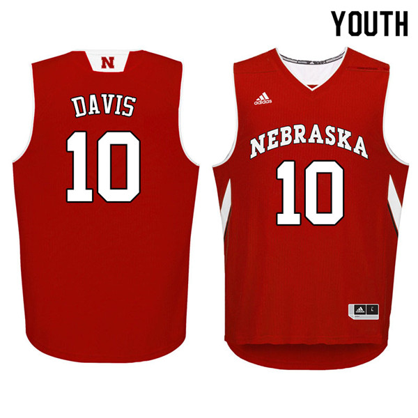 Youth Nebraska Cornhuskers #10 Karrington Davis College Basketball Jerseys Sale-Red