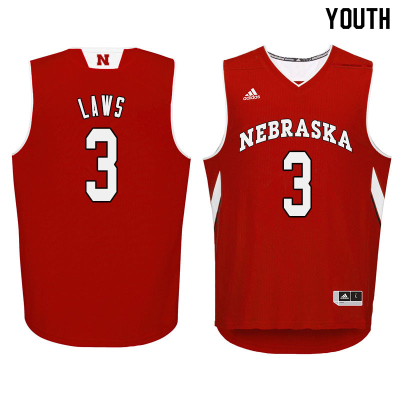 Youth Nebraska Cornhuskers #3 Malcolm Laws College Basketball Jersyes Sale-Red