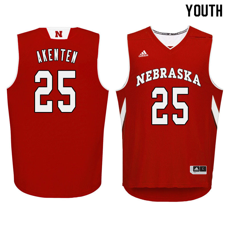 Youth Nebraska Cornhuskers #25 Nana Akenten College Basketball Jersyes Sale-Red