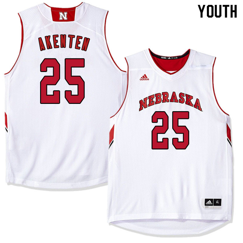 Youth Nebraska Cornhuskers #25 Nana Akenten College Basketball Jersyes Sale-White