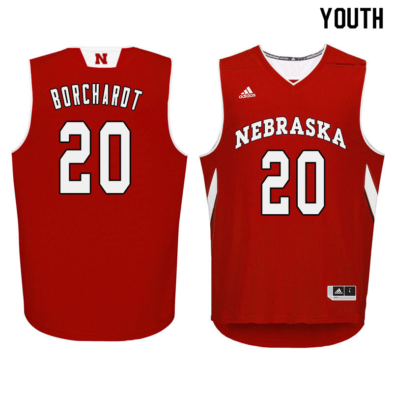 Youth Nebraska Cornhuskers #20 Tanner Borchardt College Basketball Jersyes Sale-Red