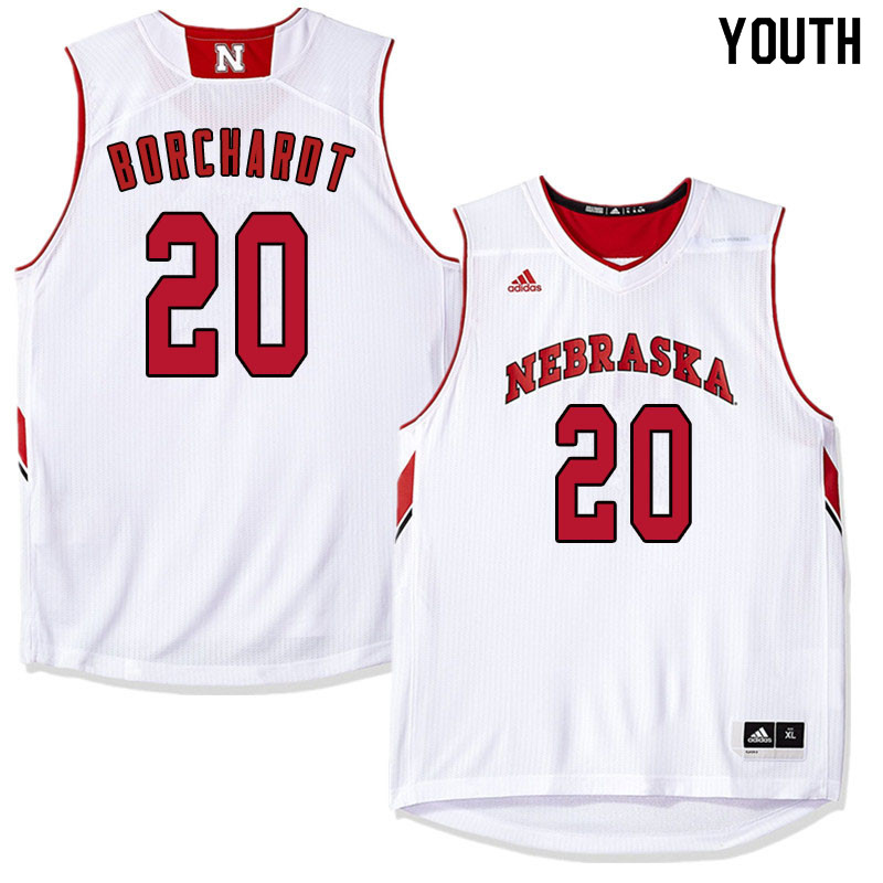 Youth Nebraska Cornhuskers #20 Tanner Borchardt College Basketball Jersyes Sale-White